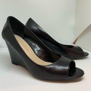 FRANCO SARTO black leather peeptoe wedges 🖤